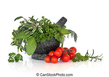 kruid, blad, selectie, met, tomaten
