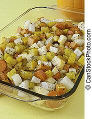 kruid, groentes, wortel, geroosterd