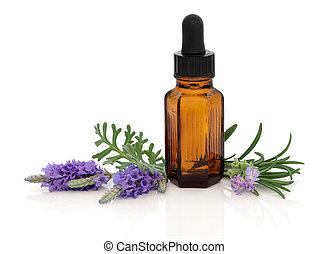 kruid, rozemarijn, lavendel, essentie