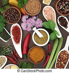 kruid, specerij, droog, verzameling, fris