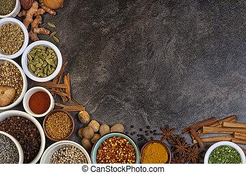 kruiden, gebruikt, in, het koken