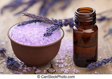 kruiden, lavendel, zout, en, essentiële olie