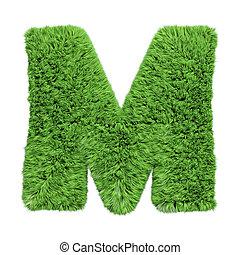 kruiden, m., gras, illustration., brief, 3d, witte , alfabet, uppercase, vrijstaand