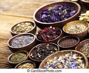 kruiden, natuurlijke , toon, geneeskunde, kleurrijke