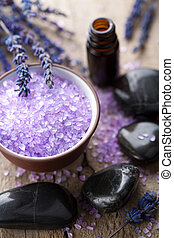 kruiden, zout, lavendel, en, spa, stenen