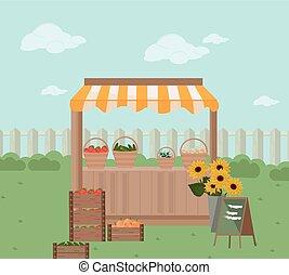 kruidenierswinkel, boerderij, plank, illustratie, vector, fris, store.