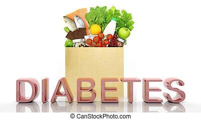 kruidenierswinkel, buil, met, gezonde , producten, en, diabetes, 3d, woord, vrijstaand, op wit