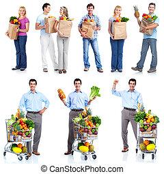 kruidenierswinkel, cart., mensen