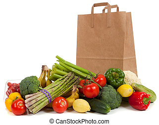 kruidenierswinkel, groentes, zak, geassorteerd
