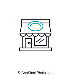 kruidenierswinkel, illustration., meldingsbord, concept., symbool, vector, lijn, pictogram, winkel, lineair