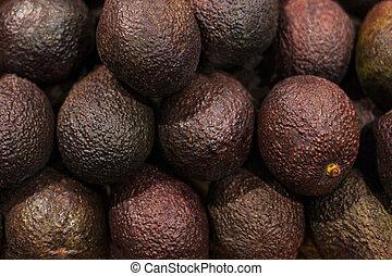 kruidenierswinkel, organisch, achtergrond., fruit, avocado, rauw voedsel, partij, fris, avocado's, winkel