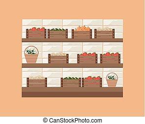 kruidenierswinkel, plank, illustratie, vector, store., fris