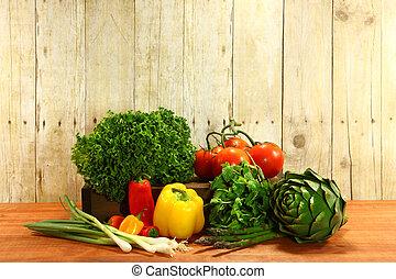 kruidenierswinkel, produceren, items, op, een, houten plank