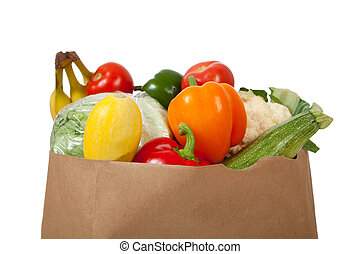 kruidenierswinkel, volle, groentes, zak, achtergrond, witte