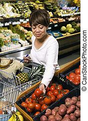 kruidenierswinkel, vrouw, shopping.