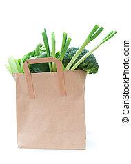 kruidenierswinkelzak, met, groentes