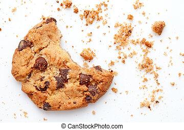kruimel, op, koekje, eten, helft, afsluiten