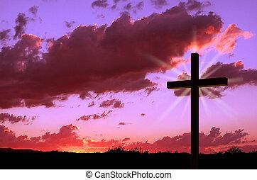 kruis, en, ondergaande zon