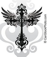 kruis, en, vleugels