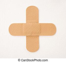 kruis, gemaakt, van, pleister, vrijstaand, op wit