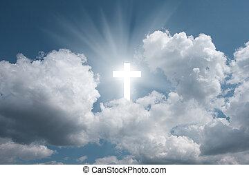 kruis, in, hemel