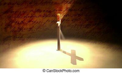 kruis, in, schijnwerper
