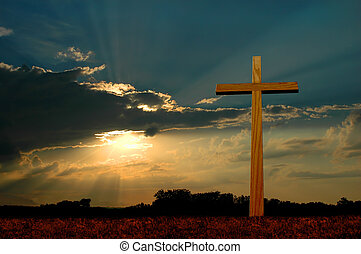 kruis, op, ondergaande zon