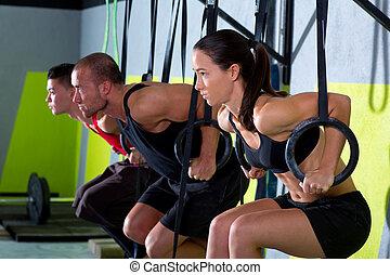 kruis, passen, onderdompeling, ring, groep, workout, het...