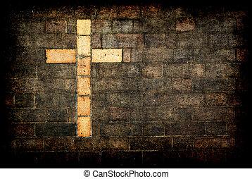 kruis, van, christus, gebouwde, in, een, baksteen muur