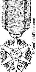 kruis, van, verdienste, landbouw, ouderwetse , gravure