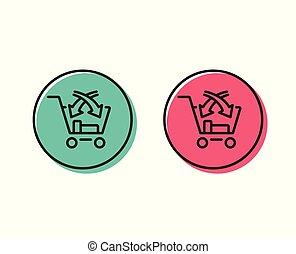 kruis, verkopen, lijn, icon., markt, detailhandel, teken., vector