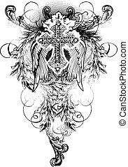 kruis, vleugel, met, boekrol, sierlijk