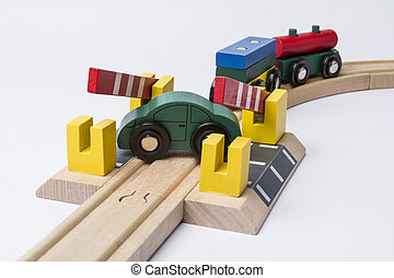 kruising, auto, spoorweg, speelbal