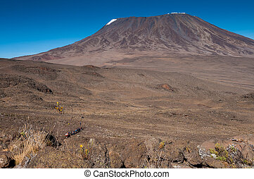 kruising, kilimanjaro, trekkers, zadel