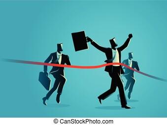 kruising, rennende , beëindiig lijn, zakenlieden
