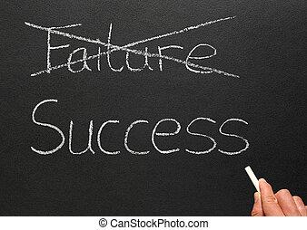 kruising, uit, mislukking, en, schrijvende , success.