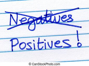 kruising, uit, negatieven, en, schrijvende , positives.