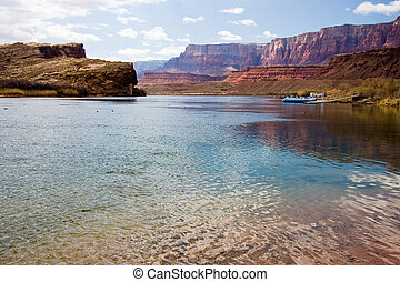 kruising, veerboot, rivier, lees, colorado
