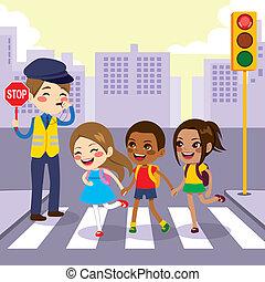 kruising, voetganger, onderricht kinderen