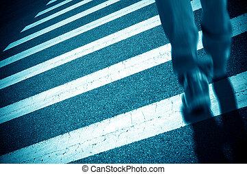 kruising, voetganger, zebra