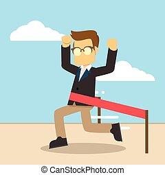 kruising, zakenman, lijn, afwerking