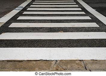 kruising, zebra, straat