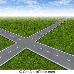kruispunt, beslissing, dilemma