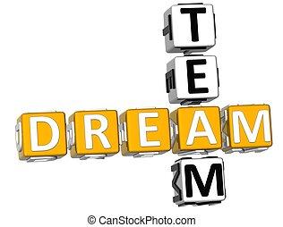 kruiswoordraadsel, 3d, droom, team