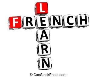 kruiswoordraadsel, 3d, franse , leren