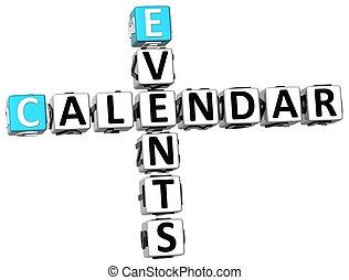 kruiswoordraadsel, kalender, evenementen, 3d