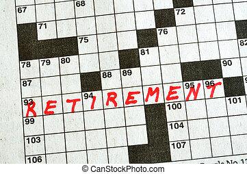 kruiswoordraadsel, pensioen, woord