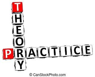 kruiswoordraadsel, praktijk, theorie, 3d