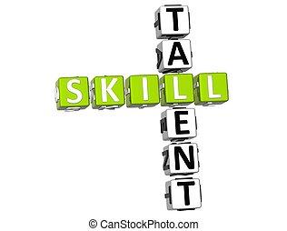 kruiswoordraadsel, vaardigheid, talent