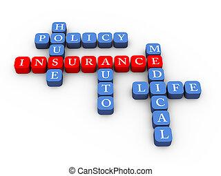 kruiswoordraadsel, van, verzekeringspolis, concept